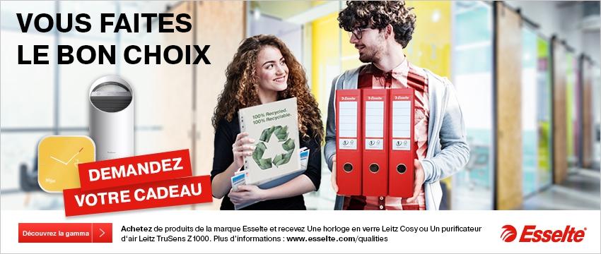Achetez de produits de la marque Esselte et recevez une horloge en verre Leitz Cosy ou in purofocateur d'air Leitz TruSens Z-1000