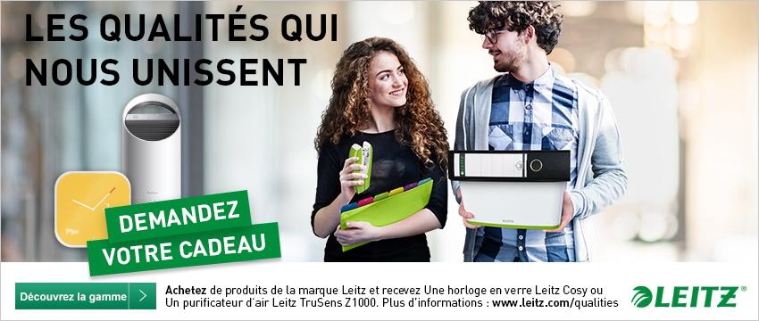 Achetez de produits de la marque Leitz et recevez une horloge en verre Leitz Cosy ou in purofocateur d'air Leitz TruSens Z-1000