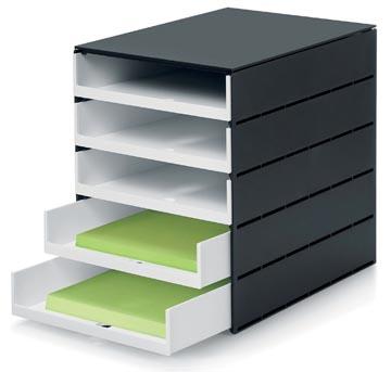 Styro ladenblok Stryoval Pro met 5 open laden, zwart/wit