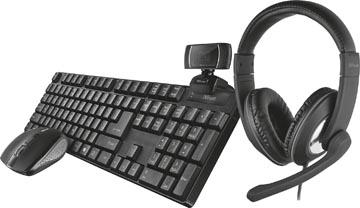 Trust Qoby 4-in-1 Home Office Set met Webcam, headset, toetsenbord (azerty) en muis