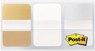 Post-it Index Strong Metallic, ft 25,4 x 38 mm, set van 3 kleuren (goud, wit en zilver)
