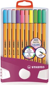 STABILO point 88 Pastel fineliner, Colorparade, etui van 20 stuks in geassorteerde kleuren