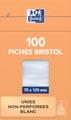 OXFORD flashcards ongeperforeerd, ft 75 x 125 mm, effen, wit, pak van 100 vel